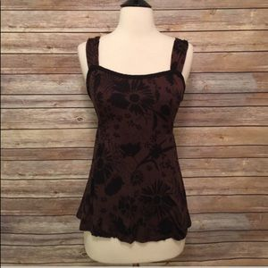Anthropologie Ric Rac Black And Brown Tank Top